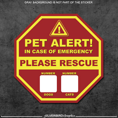 2x Pet Rescue Stickers Fire 911 Warning Caution Pets Dogs Cats Safety