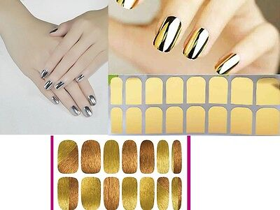 nail art motif faux ongles manucure nail stickers metallique or argent chrome