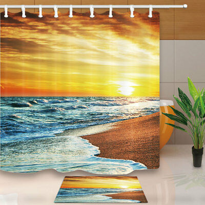 "Peaceful Sea Waves At Sunset Shower Curtain Set 71"" Bathroom Waterproof Fabric"