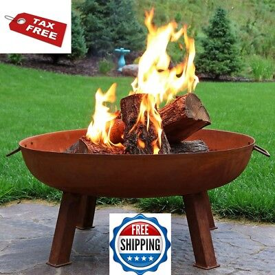 Fire Pit Cast Iron Rustic Bowl Wood Burning Small Rusted Patio Yard Camp Outdoor