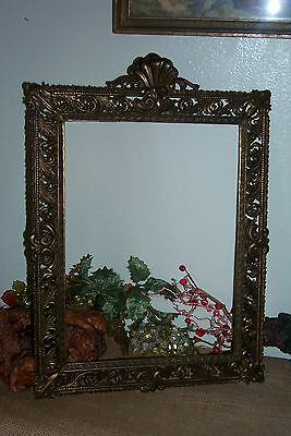 """Lovely Antique Vintage Ornate Brass Wall Frame ITALY Italian 12"""" X 16 Picture"""