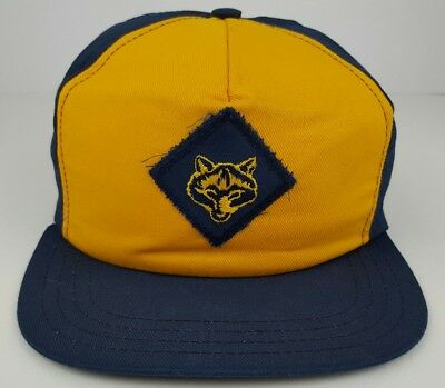 Vintage Boy Scouts Cub Scouts Wolf Blue & Yellow Youth Size S / M Snap Back Hat