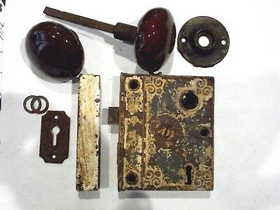 Antique Eastlake Era Norwich USA Rim Lock With Original Hardware