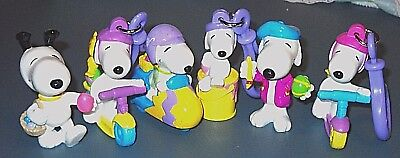Snoopy Whitman PVC  Easter Cake Toppers Keychains  Lot 10