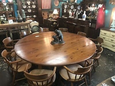 Vintage W.R Dallas 7 Foot Diameter Dinning Room Table With 10 Chairs