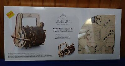 S.T.E.A.M. Line UGears Mechanical Models 3-D Wooden Puzzle Combination Lock NEW