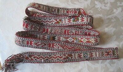 Antique 19C Hand Woven Turkish Ottoman Turkoman Caucasian Tent Band Ak Yap Strap