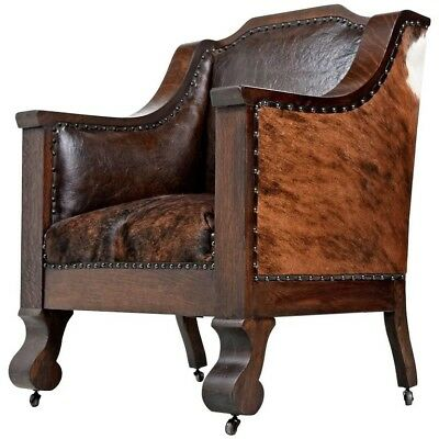 Antique Oak and Leather Mission Empire Arm Chair Cow Hide
