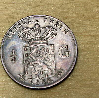 1855 Netherlands East Indies 1/4 Gulden Silver