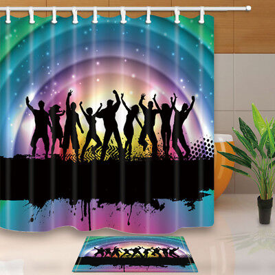 Rainbow And Stage Shower Curtain Set Waterproof Polyester Fabric & Hook 71Inches
