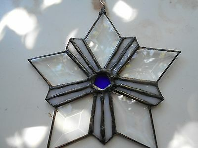 Stained Glass Window Panel Suncatcher Texas Star Artist Signed And Dated Art