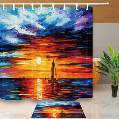 Oil Painting Sunset On Ocean Shower Curtain Set Home Fabric & Hooks 71X71 Inches