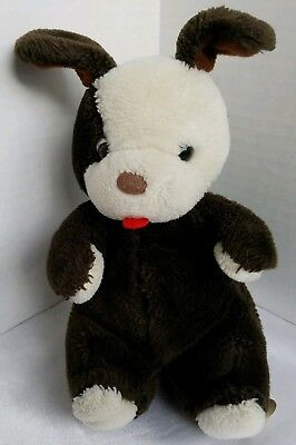 "Vintage Prestiege Toy Co. Plush Sitting Puppy 9"" Brown Ivory Excellent Condition"