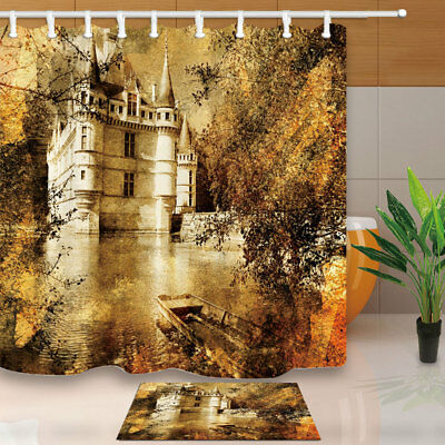 "Traditional Shabby Water Castle Shower Curtain 71"" Bathroom Waterproof Fabric"