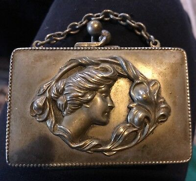 "Ladies Antique Victorian Silverplate Coin Purse Embossed Ladies Head 3""x21/2""."