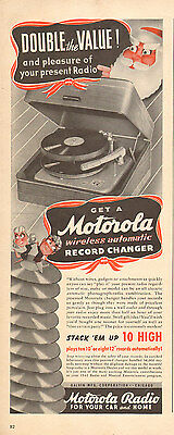 1946 vintage AD MOTOROLA Wireless automatic RECORD CHANGER stack 10 high  020516