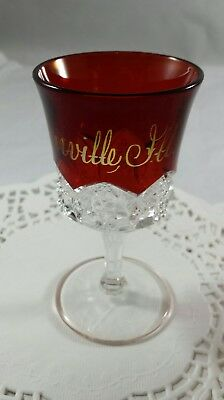 "Antique Ruby Flash ""Greenville, Ftl."" Glass Vintage Souvenir Crystal Cup Mint"