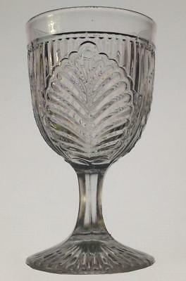 """McKee ribbed palm flint pressed pattern glass EAPG water goblet 6 1/8"""" tall"""