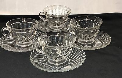 4 Fostoria COLONY CRYSTAL * 6 oz FOOTED CUPS & SAUCERS*