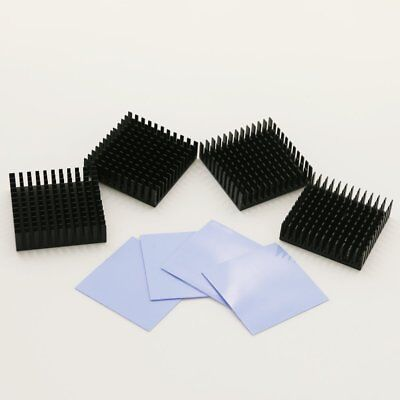 4 Pcs 40x40mm Aluminum Cooling Fin Heatsink With Silicone Adhesive Thermal Pad