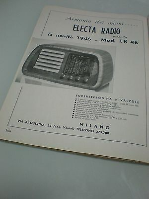 ELECTA ER 46 Pubblicita Radio d'epoca Magazine Advertisement Original Year 1946