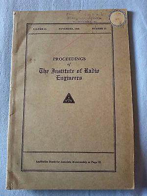 Proceedings IRE Institute Radio Engineers 1938 Radio Epoca PHILIPS ZENITH MONZA