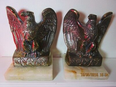 Pair Of 2 Heavy Vintage Metal American Bald Eagle Bookends On Marble Base