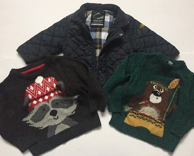 Knitted X2 Jumpers And Navy Coat Age 12-18 Months NEXT George TU