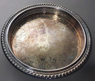 """Vintage WM Rogers Silverplate 9.5"""" Wide Round Etched Serving Tray Kitchen Decor"""