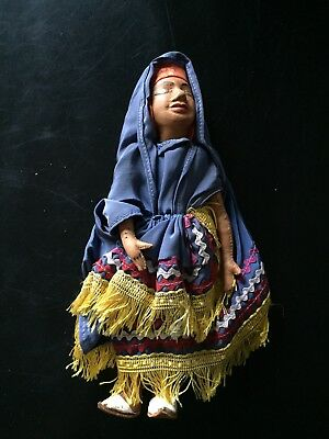 Vintage Antique Handmade Hand Sewn Leather Doll Indian India Stand Toy Culture