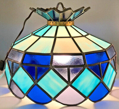 Vintage Blue Leaded Stained Glass 1 Light Large Pendant Swag Hanging Light