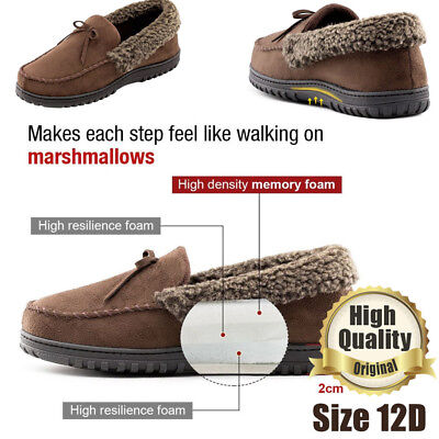 Men's Moccasin Suede House Shoes  Slippers Memory Foam Warm Winter Mens Size 12