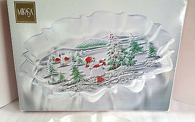 """Mikasa Holiday Landscape Christmas Clear Green Red Oval Canape Tray 17"""" W/Box"""