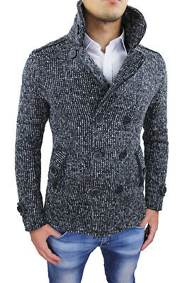 Cappotto Giacca Uomo Casual Invernale Nero Made In Italy Cardigan Lana Slim Fit