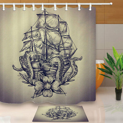 Hand Drawn Sailboat Bathroom Shower Curtain Set Waterproof Fabric & 12 Hook