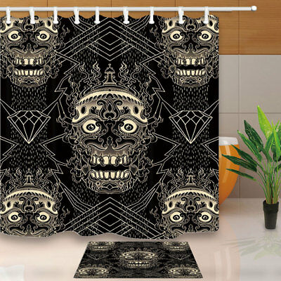 Skull With Flower Pattern Shower Curtain Set Waterproof Fabric & 12 Hooks 71""