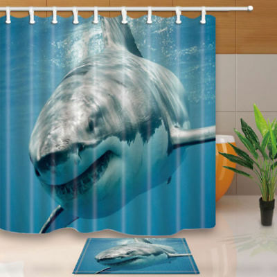 Big Whale In Blue Ocean Bathroom Shower Curtain Set Fabric & 12 Hook 71 Inch