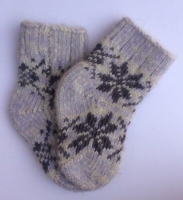 Knitted Sheep wool Kids socks Thick warm winter Snowflake Purple Size 1 Age 0-1