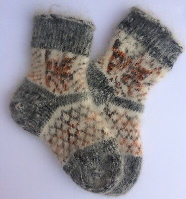 Knitted Sheep wool Mohair Kids socks Thick warm winter Black White Age 3-5
