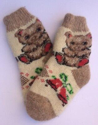 Knitted Sheep wool Kids socks Thick warm winter Bear Brown Red White ( Age 7-8 )