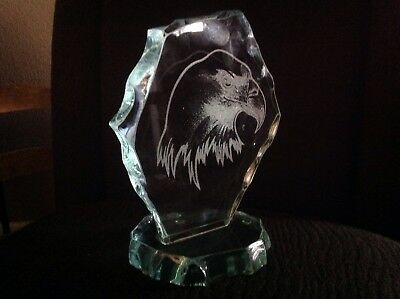 "Glass Sculpture.. ""etched Eagle.."""