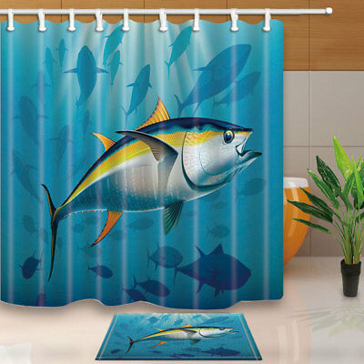 Tuna Swim In Sea With Shark Bathroom Shower Curtain Set Fabric U0026 12 Hook ...