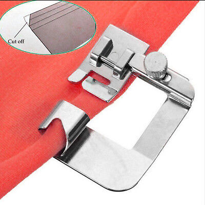 "Wide ROLLED HEM SET 1/2"" Hemmer Foot Sewing Machines Snap on Stainless Steel"