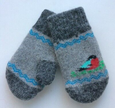 New Kids Knitted Sheep wool mittens Very warm Birds Grey 2-3 Years Old