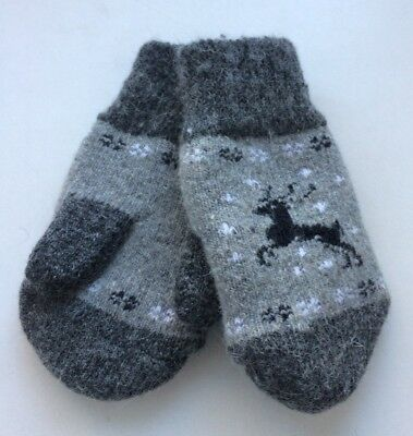 New Kids Knitted Sheep wool Blend mittens Very warm Deer Grey 2-3 Years Old