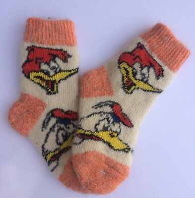 Knitted Sheep wool Kids socks Thick warm winter Donald Multi ( Age 6-7 )