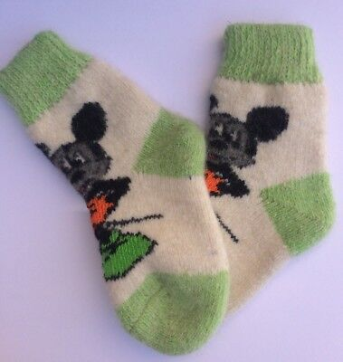 Knitted Sheep wool Kids socks Thick warm Mickey Mouse White Green ( Age 6-7 )