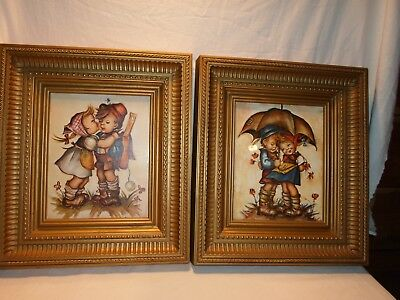 Very Nice Pair of Gold  Framed Hummel Pictures 16 x 14