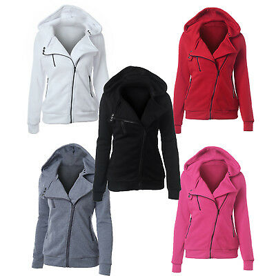 Women Ladies Zipper Tops Hoodie Hooded Sweatshirt Slim Coat Jacket Sportwear US
