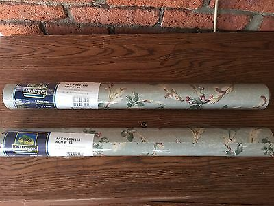 Lot of 2 Village Bluish Green Floral Double Roll Wallpaper 5801255 Run# 14 - NEW
